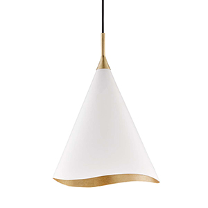 Martini Gold Leaf and White One-Light Pendant