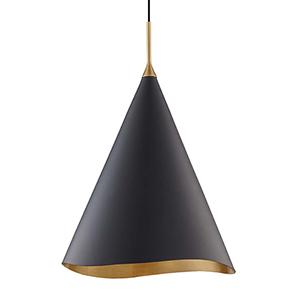 Martini Gold Leaf and Black One-Light Pendant