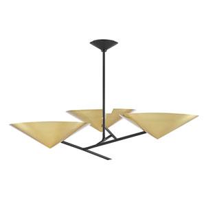 Equilibrium Aged Brass Black Three-Light Chandelier