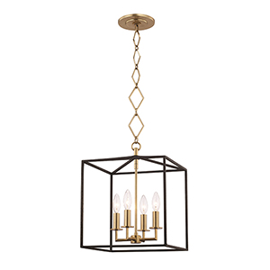 Richie Aged Brass and Textured Black Four-Light Pendant