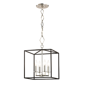 Richie Polished Nickel and Textured Black Four-Light Pendant