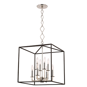 Richie Polished Nickel and Textured Black Eight-Light Pendant