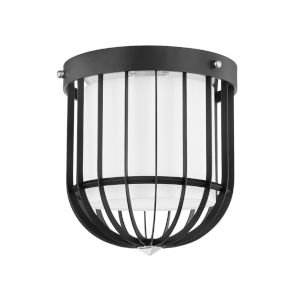 Landon Polished Nickel Black One-Light Flush Mount with White Belgian Linen Shade