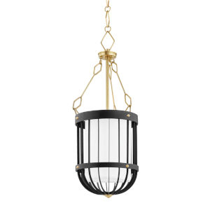 Landon Aged Brass Black One-Light Pendant with White Belgian Linen Shade