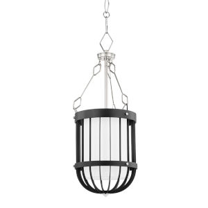 Landon Polished Nickel Black One-Light Pendant with White Belgian Linen Shade