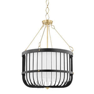 Landon Aged Brass Black Four-Light Pendant with White Belgian Linen Shade