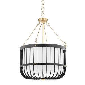 Landon Aged Brass Black Four-Light Pendant with White Belgian Linen Shade