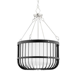 Landon Polished Nickel Black Four-Light Pendant with White Belgian Linen Shade