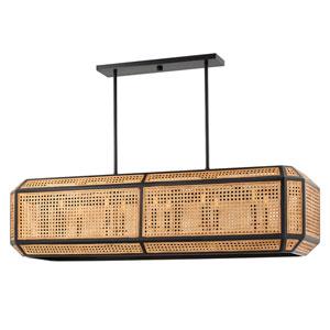 Georgia Woven Cane Old Bronze 10-Light LED Pendant
