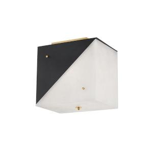Ratio Black and White Three-Light Flush Mount
