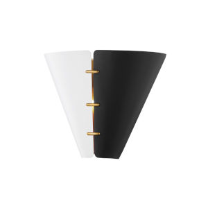 Split Black and White Brass Seven-Inch Two-Light Wall Sconce
