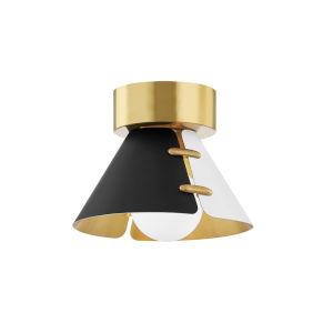 Split Black and White Brass Eight-Inch One-Light Flush Mount