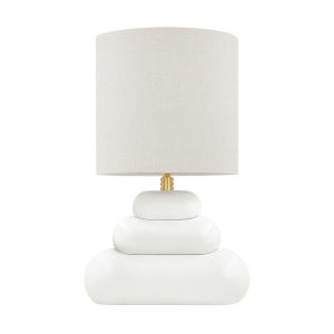 Palisade Aged Brass One-Light Table Lamp with Gray Linen Shade