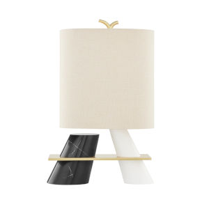 Traverse Aged Brass One-Light Table Lamp with Beige Linen Shade