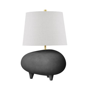 Tiptoe Aged Brass Matte Black Charcoal 13-Inch One-Light Table Lamp