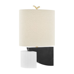 Construct Aged Brass One-Light Table Lamp with Beige Linen Shade