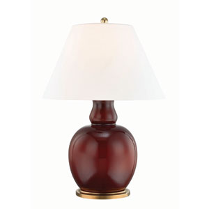 Tang Aged Brass and Red One-Light Table Lamp