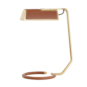 Holtsville Aged Brass and Saddle LED Accent Table Lamp