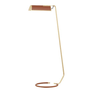 Holtsville Aged Brass and Saddle LED Armchair Floor Lamp