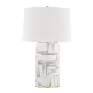 Borneo Aged Brass Stripe Combo One-Light Accent Table Lamp