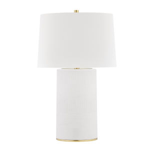 Borneo Aged Brass and White One-Light Accent Table Lamp
