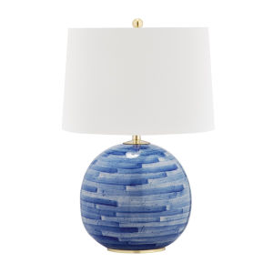 Laurel Aged Brass and Blue One-Light Accent Table Lamp