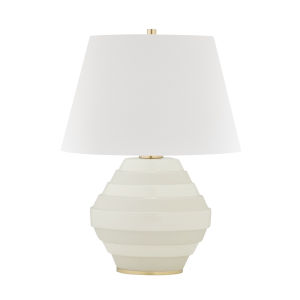 Calverton Aged Brass and White One-Light Accent Table Lamp