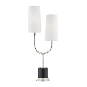 Vesper Polished Nickel and Black Two-Light Accent Table Lamp