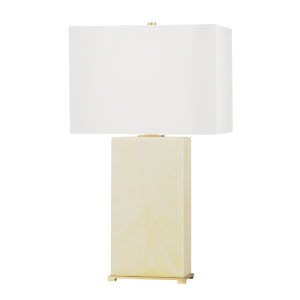 Hewlett Aged Brass and Faux Ivory Horn One-Light Accent Table Lamp