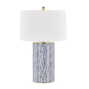 Bohemia Gold Leaf and Blue One-Light Accent Table Lamp