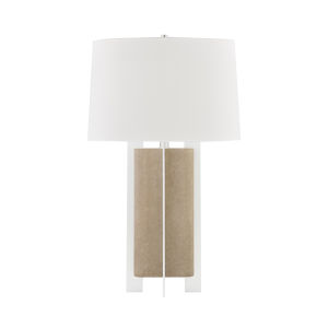Coram Satin Stainless and Fog Gray One-Light Accent Table Lamp