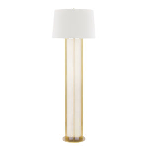 Coram Aged Brass and Cream One-Light Shaded Floor Lamp