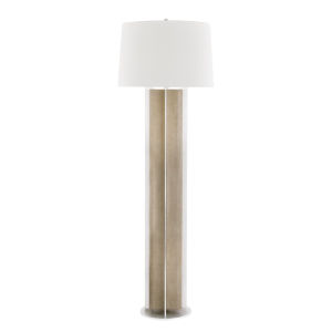 Coram Satin Stainless and Fog Gray One-Light Shaded Floor Lamp