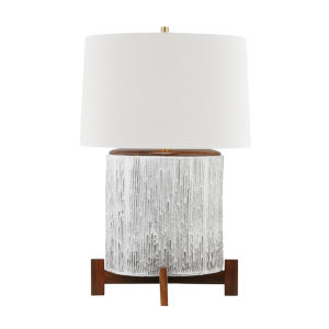 Oakham Aged Brass and Off White One-Light Accent Table Lamp