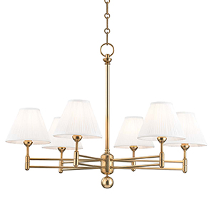 Classic No.1 Gold and Off White Six-Light Chandelier