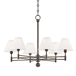 Classic No.1 Bronze and Off White Six-Light Chandelier
