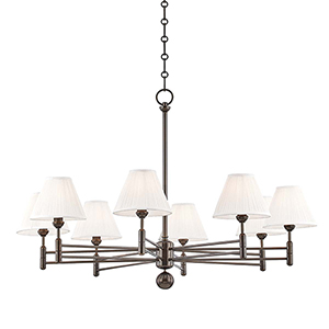 Classic No.1 Bronze and Off White Eight-Light Chandelier