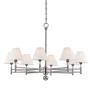 Classic No.1 Gray and Off White Eight-Light Chandelier