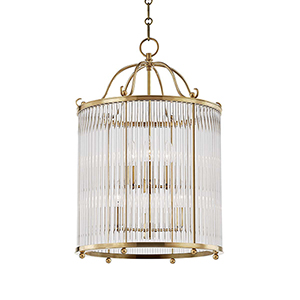 Glass No.1 Gold and Clear Six-Light Chandelier