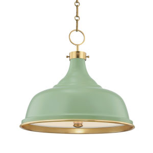 Painted No.1 Aged Brass Three-Light Pendant with Leaf Green Steel Shade