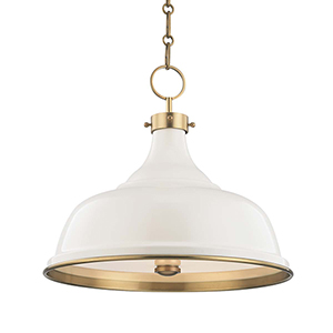 Painted No.1 Gold and Off White Three-Light Chandelier