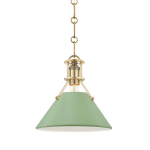 Painted No.2 Aged Brass 10-Inch One-Light Pendant with Leaf Green Steel Shade