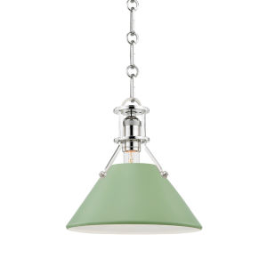 Painted No.2 Polished Nickel 10-Inch One-Light Pendant with Leaf Green Steel Shade
