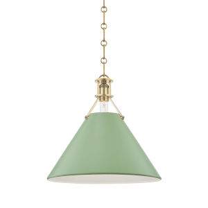 Painted No.2 Aged Brass 16-Inch One-Light Pendant with Leaf Green Steel Shade