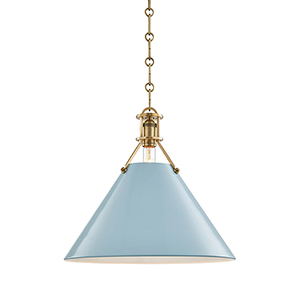 Painted No.2 Gold and Blue One-Light 16-Inch Pendant