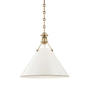 Painted No.2 Gold and Off White One-Light Pendant