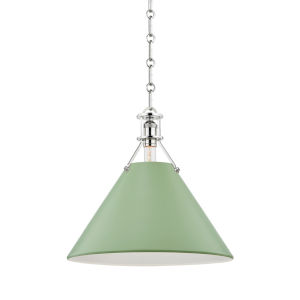 Painted No.2 Polished Nickel 16-Inch One-Light Pendant with Leaf Green Steel Shade