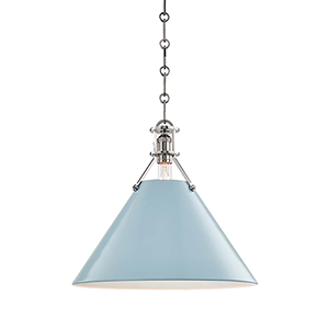 Painted No.2 Gray and Blue One-Light 16-Inch Pendant