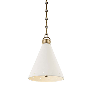 Plaster No.1 Gold and White One-Light 10-Inch Pendant