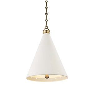 Plaster No.1 Gold and White One-Light 15-Inch Pendant